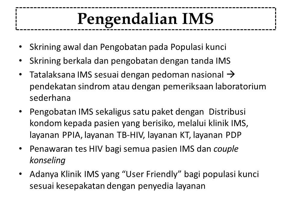 Pengendalian IMS Skrining awal dan Pengobatan pada Populasi kunci Skrining berkala dan pengobatan dengan tanda IMS Tatalaksana IMS sesuai dengan pedom