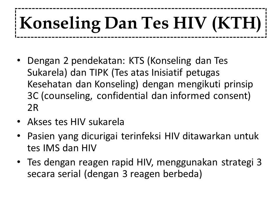 Konseling Dan Tes HIV (KTH) Dengan 2 pendekatan: KTS (Konseling dan Tes Sukarela) dan TIPK (Tes atas Inisiatif petugas Kesehatan dan Konseling) dengan