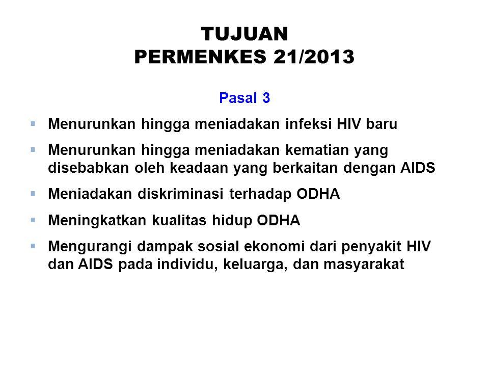 TUJUAN PERMENKES 21/2013 Pasal 3  Menurunkan hingga meniadakan infeksi HIV baru  Menurunkan hingga meniadakan kematian yang disebabkan oleh keadaan