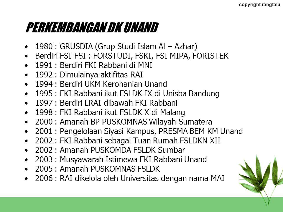 copyright.rangtalu DK SUMBAR LDK mulai berdiri di Sumbar awal 1990, dimulai dari Unand dan UNP FSLDKD I : UKK UNP 1-3 November 2002 FSLDKD II : UBH 17