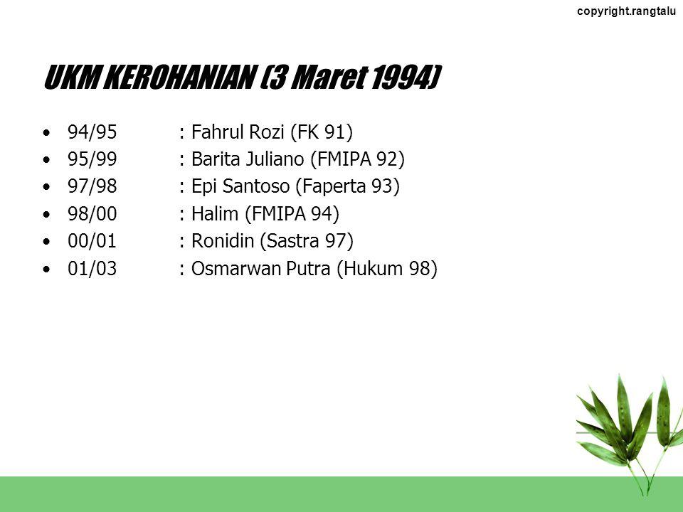 KETUA FKI RABBANI (31 Maret 1991) 91/94: Syahril (FMIPA 88) 94/96: Ilzan Sumatra (Faterna 90) 96/97: M. Taufik (FMIPA 92) 97/99: Iko Musmulyadi (Faper