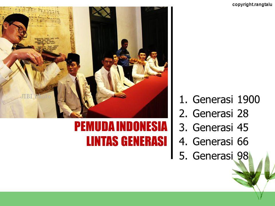 copyright.rangtalu 1.Generasi 1900 2.Generasi 28 3.Generasi 45 4.Generasi 66 5.Generasi 98 PEMUDA INDONESIA LINTAS GENERASI