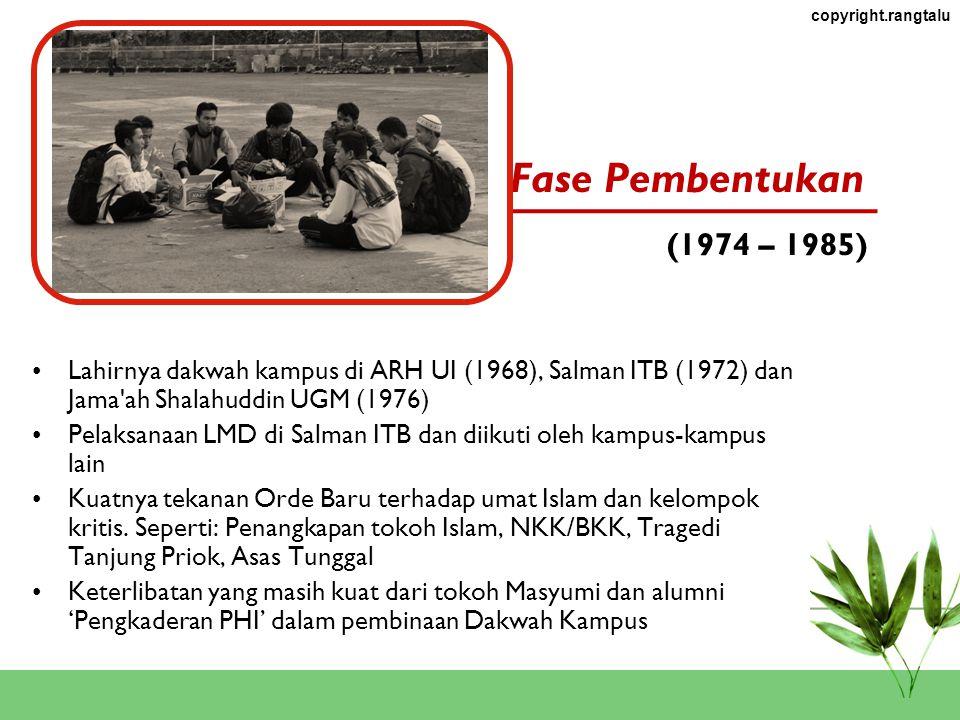 copyright.rangtalu Pertumbuhan Dakwah Kampus Fase Pertumbuhan Dakwah Kampus 1.Fase Pembentukan (1974 – 1985) 2.Fase Perkembangan (1985 – 1994) 3.Fase