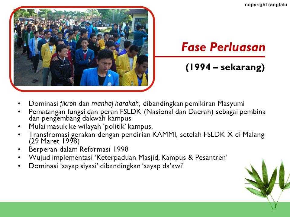 copyright.rangtalu Dominasi fikroh dan manhaj harakah, dibandingkan pemikiran Masyumi Pematangan fungsi dan peran FSLDK (Nasional dan Daerah) sebagai pembina dan pengembang dakwah kampus Mulai masuk ke wilayah 'politik' kampus.