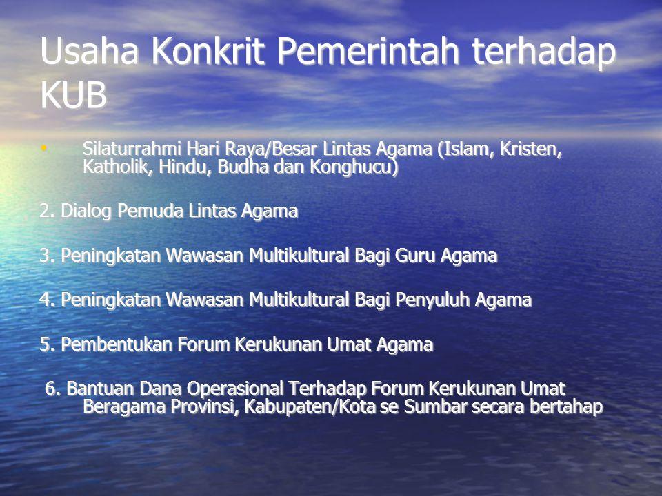 Usaha Konkrit Pemerintah terhadap KUB Silaturrahmi Hari Raya/Besar Lintas Agama (Islam, Kristen, Katholik, Hindu, Budha dan Konghucu) Silaturrahmi Har