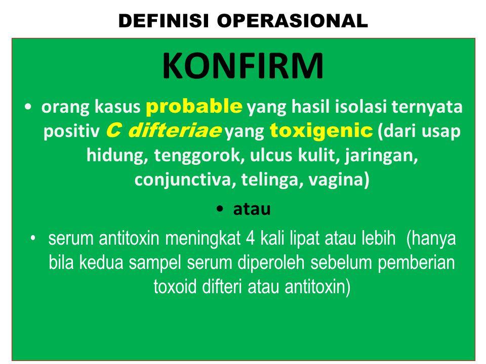 DEFINISI OPERASIONALSUSPEK adalah orang dengan gejala Laringitis, Nasofaringitis atau Tonsilitis ditambah pseudomembrane putih keabuan yang tak mudah