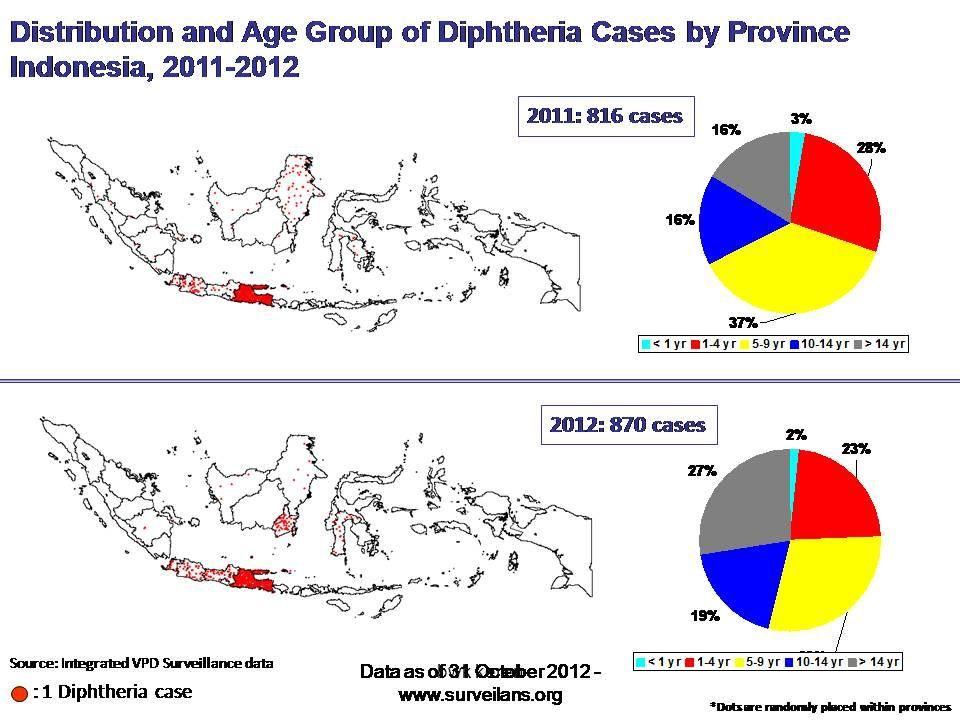 BAGAIMANA SITUASI DIFTERI DI INDONESIA SAAT INI...? KASUS DIPHTERI NASIONAL 2011 NO PROVINSIKASUS%MATICFR (%) 1JATIM 66582%82%203% 2KALTIM 52 3JABAR 4