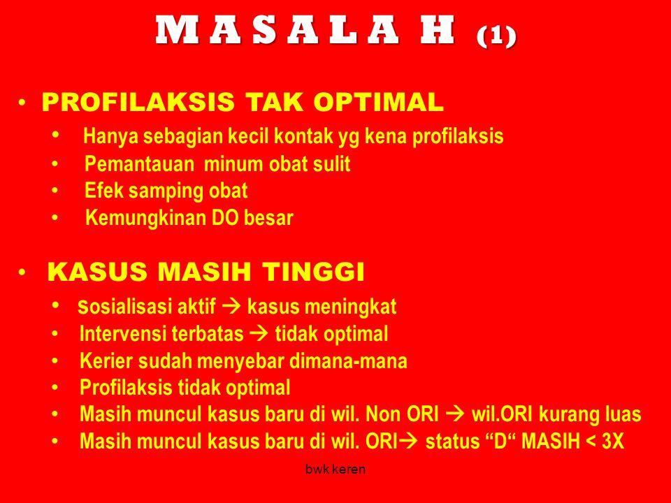 M A S A L A H (1) PROFILAKSIS TAK OPTIMAL Hanya sebagian kecil kontak yg kena profilaksis Pemantauan minum obat sulit Efek samping obat Kemungkinan DO