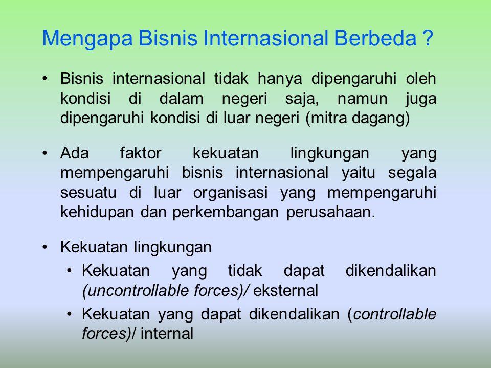 Mengapa Bisnis Internasional Berbeda ? Bisnis internasional tidak hanya dipengaruhi oleh kondisi di dalam negeri saja, namun juga dipengaruhi kondisi