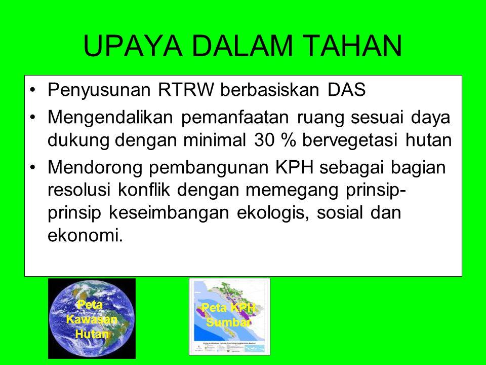 UPAYA DALAM TAHAN Penyusunan RTRW berbasiskan DAS Mengendalikan pemanfaatan ruang sesuai daya dukung dengan minimal 30 % bervegetasi hutan Mendorong p