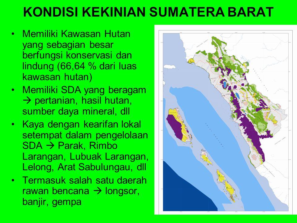 2015 s/d 2020 2015 s/d 2020 2010 s/d 2015 2005 s/d 2010 ARAH PEMBANGUNAN Menjadi Provinsi Terkemuka Berbasis Sumberdaya Manusia Yang Agamais di Tahun 2025 Terwujudnya Masyarakat Sumatera Barat Madani yang Adil, Sejahtera dan Bermartabat Mewujudkan tata kehidupan yang harmonis, agamais, beradat, dan berbudaya berdasarkan falsafah Adat Basandi Syarak, Syarak Basandi Kitabullah Mewujudkan tata-pemerintahan yang baik, bersih dan profesional Mewujudkan sumberdaya manusia yang cerdas, sehat, beriman, dan berkualitas tinggi Mewujudkan ekonomi masyarakat yang tangguh, produktif, berbasis kerakyatan, berdayasaing regional dan global Mewujudkan pembangunan yang berkelanjutan dan berwawasan lingkungan Misi 1 Misi 2 Misi 3 Misi 4 Misi 5 VISIVISI