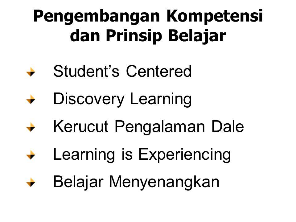 Pengembangan Kompetensi dan Prinsip Belajar Student's Centered Discovery Learning Kerucut Pengalaman Dale Learning is Experiencing Belajar Menyenangkan