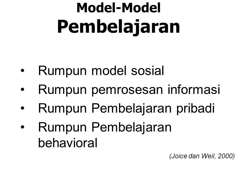 Model-Model Pembelajaran Rumpun model sosial Rumpun pemrosesan informasi Rumpun Pembelajaran pribadi Rumpun Pembelajaran behavioral (Joice dan Weil, 2000)