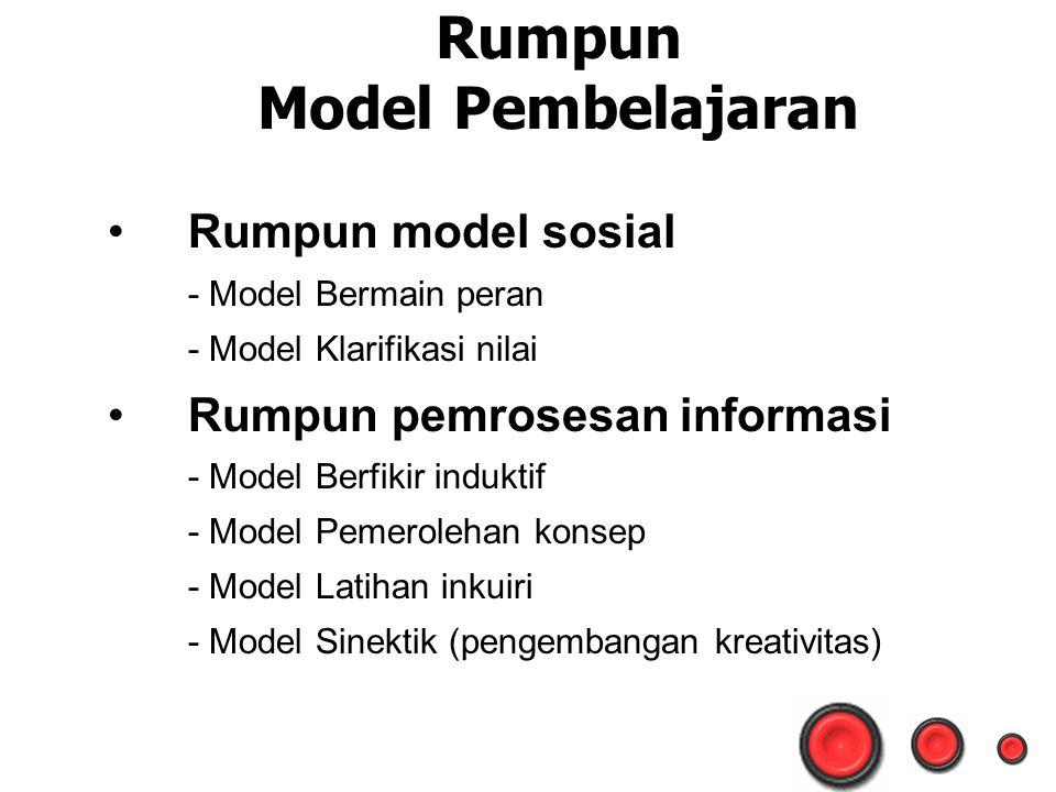 Rumpun Model Pembelajaran Rumpun model sosial - Model Bermain peran - Model Klarifikasi nilai Rumpun pemrosesan informasi - Model Berfikir induktif - Model Pemerolehan konsep - Model Latihan inkuiri - Model Sinektik (pengembangan kreativitas)