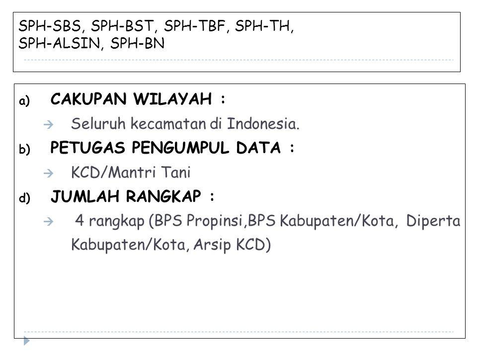 SPH-SBS, SPH-BST, SPH-TBF, SPH-TH, SPH-ALSIN, SPH-BN a) CAKUPAN WILAYAH :  Seluruh kecamatan di Indonesia. b) PETUGAS PENGUMPUL DATA :  KCD/Mantri T