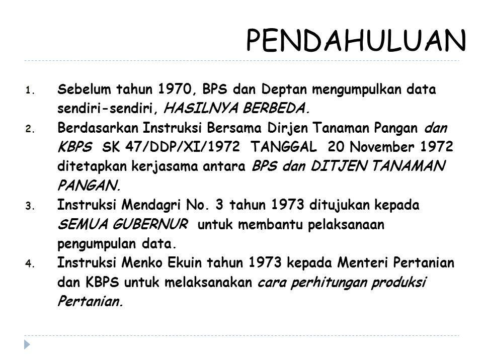 PENDAHULUAN 1. Sebelum tahun 1970, BPS dan Deptan mengumpulkan data sendiri-sendiri, HASILNYA BERBEDA. 2. Berdasarkan Instruksi Bersama Dirjen Tanaman