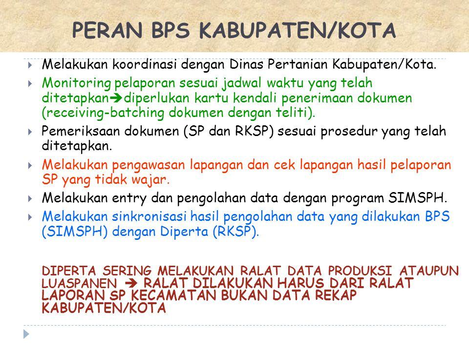  Melakukan koordinasi dengan Dinas Pertanian Kabupaten/Kota.  Monitoring pelaporan sesuai jadwal waktu yang telah ditetapkan  diperlukan kartu kend