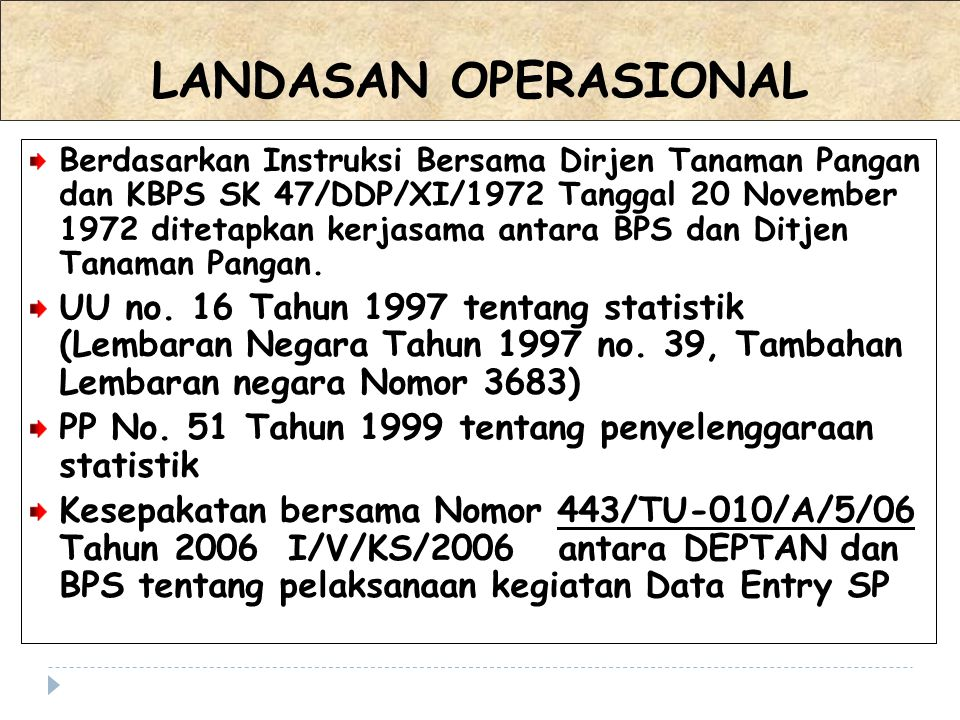 LANDASAN OPERASIONAL Berdasarkan Instruksi Bersama Dirjen Tanaman Pangan dan KBPS SK 47/DDP/XI/1972 Tanggal 20 November 1972 ditetapkan kerjasama anta