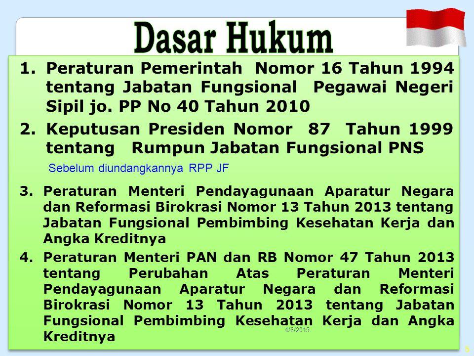 5 1.Peraturan Pemerintah Nomor 16 Tahun 1994 tentang Jabatan Fungsional Pegawai Negeri Sipil jo.
