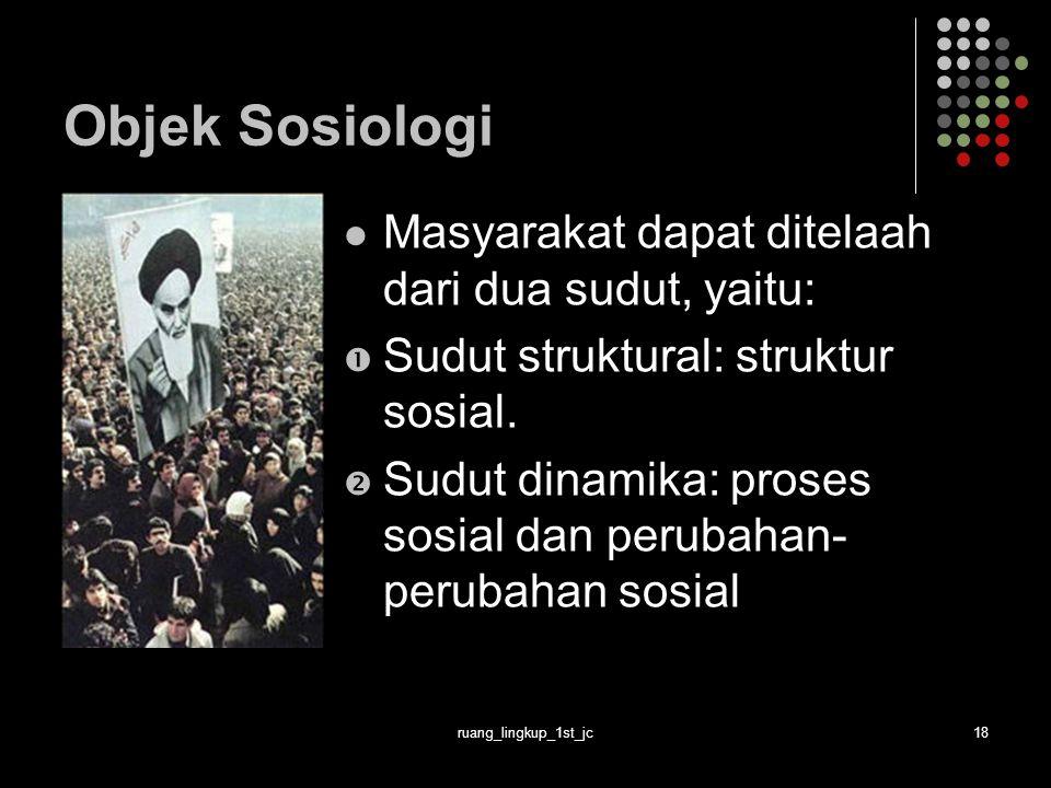 ruang_lingkup_1st_jc18 Objek Sosiologi Masyarakat dapat ditelaah dari dua sudut, yaitu:  Sudut struktural: struktur sosial.