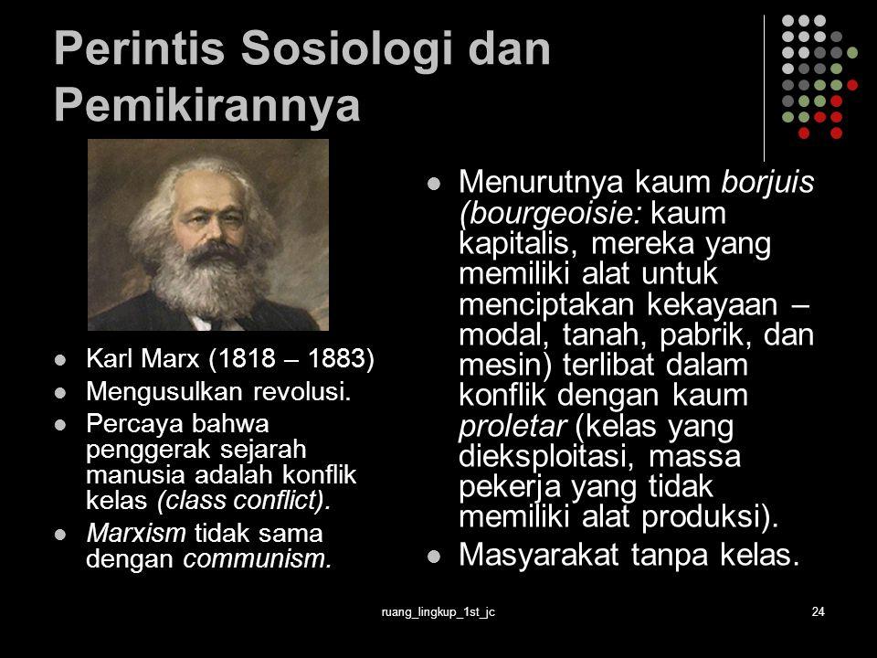 ruang_lingkup_1st_jc24 Perintis Sosiologi dan Pemikirannya Karl Marx (1818 – 1883) Mengusulkan revolusi.