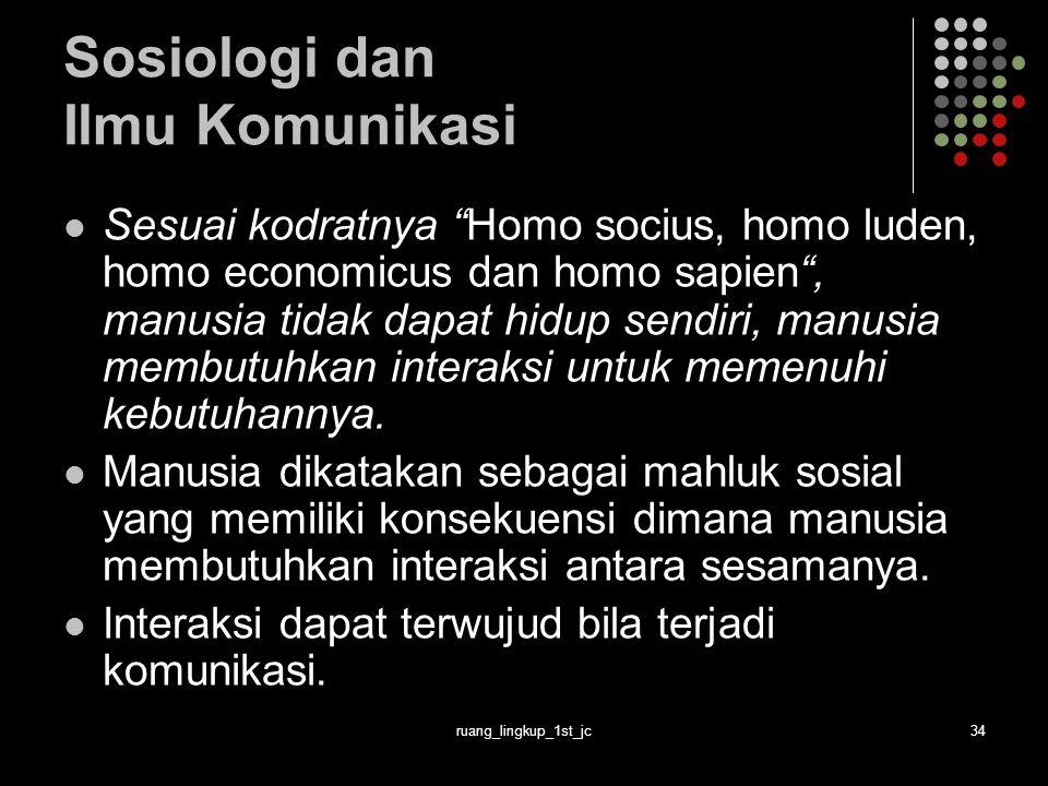 ruang_lingkup_1st_jc34 Sosiologi dan Ilmu Komunikasi Sesuai kodratnya Homo socius, homo luden, homo economicus dan homo sapien , manusia tidak dapat hidup sendiri, manusia membutuhkan interaksi untuk memenuhi kebutuhannya.