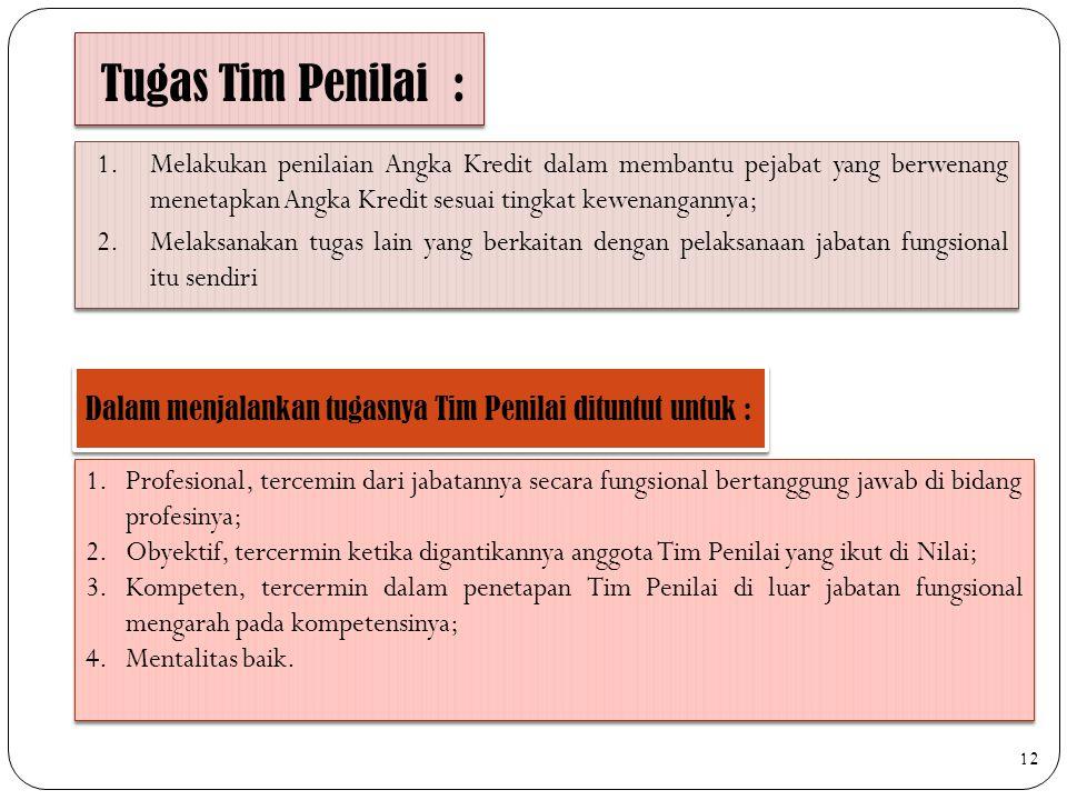 Tugas Tim Penilai : Dalam menjalankan tugasnya Tim Penilai dituntut untuk : 1.Melakukan penilaian Angka Kredit dalam membantu pejabat yang berwenang m