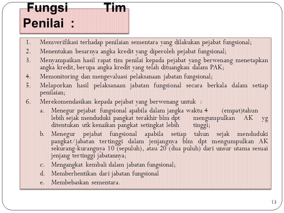 Fungsi Tim Penilai : 1.Memverifikasi terhadap penilaian sementara yang dilakukan pejabat fungsional; 2.Menentukan besarnya angka kredit yang diperoleh