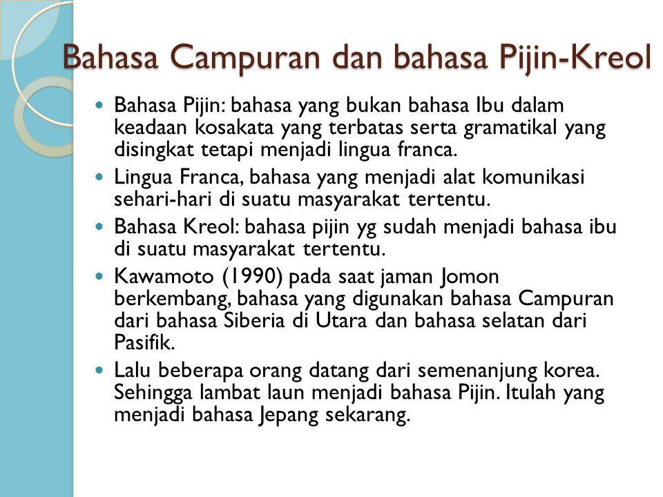 Bahasa Campuran dan bahasa Pijin-Kreol Bahasa Pijin: bahasa yang bukan bahasa Ibu dalam keadaan kosakata yang terbatas serta gramatikal yang disingkat