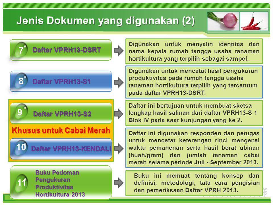 www.themegallery.com www.bps.go.id Khusus untuk Cabai Merah Daftar VPRH13-DSRT Daftar VPRH13-S1 7 8 Jenis Dokumen yang digunakan (2) Daftar VPRH13-S2