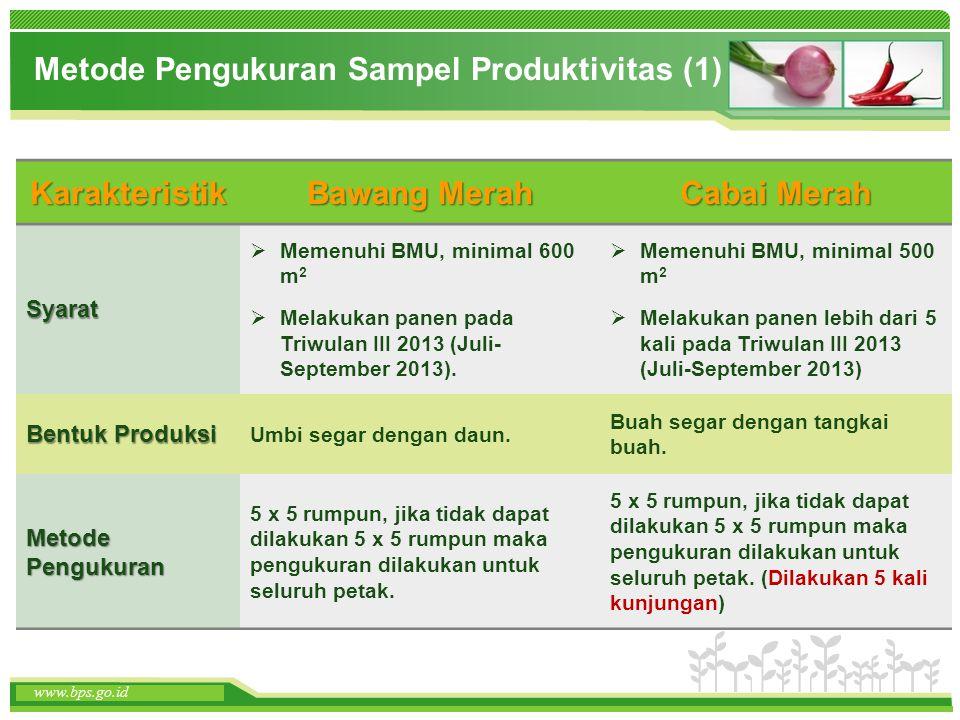 www.themegallery.com www.bps.go.id Metode Pengukuran Sampel Produktivitas (1) Karakteristik Bawang Merah Cabai Merah Syarat  Memenuhi BMU, minimal 60