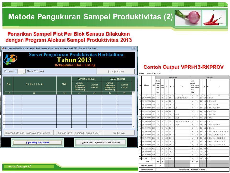 www.themegallery.com www.bps.go.id Metode Pengukuran Sampel Produktivitas (2) Penarikan Sampel Plot Per Blok Sensus Dilakukan dengan Program Alokasi S