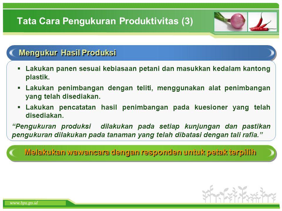 www.themegallery.com www.bps.go.id Tata Cara Pengukuran Produktivitas (3) Mengukur Hasil Produksi  Lakukan panen sesuai kebiasaan petani dan masukkan