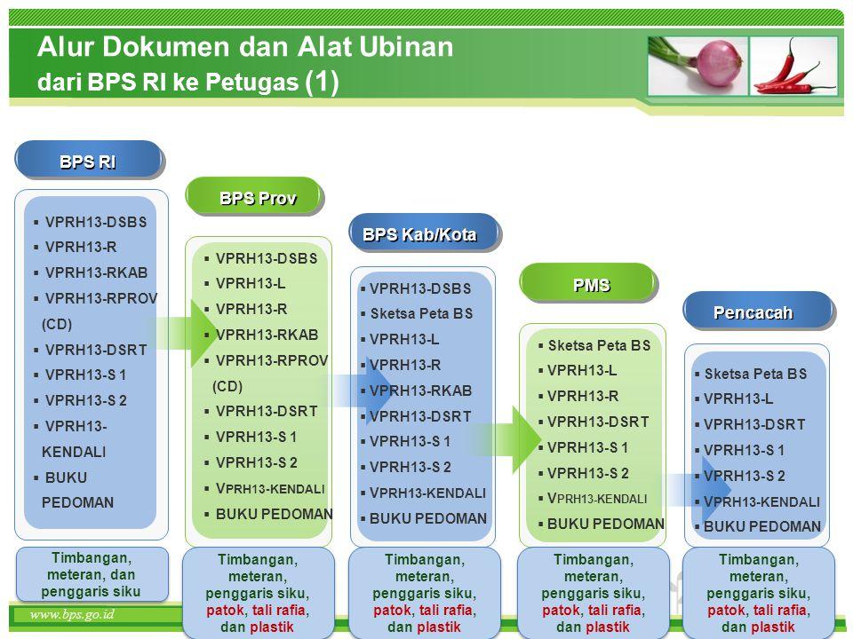 www.themegallery.com www.bps.go.id Alur Dokumen dan Alat Ubinan dari BPS RI ke Petugas (1) www.bps.go.id BPS RI BPS Prov  VPRH13-DSBS  VPRH13-R  VP
