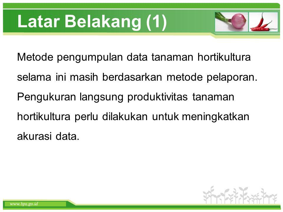www.themegallery.com www.bps.go.id Latar Belakang (1) Metode pengumpulan data tanaman hortikultura selama ini masih berdasarkan metode pelaporan. Peng