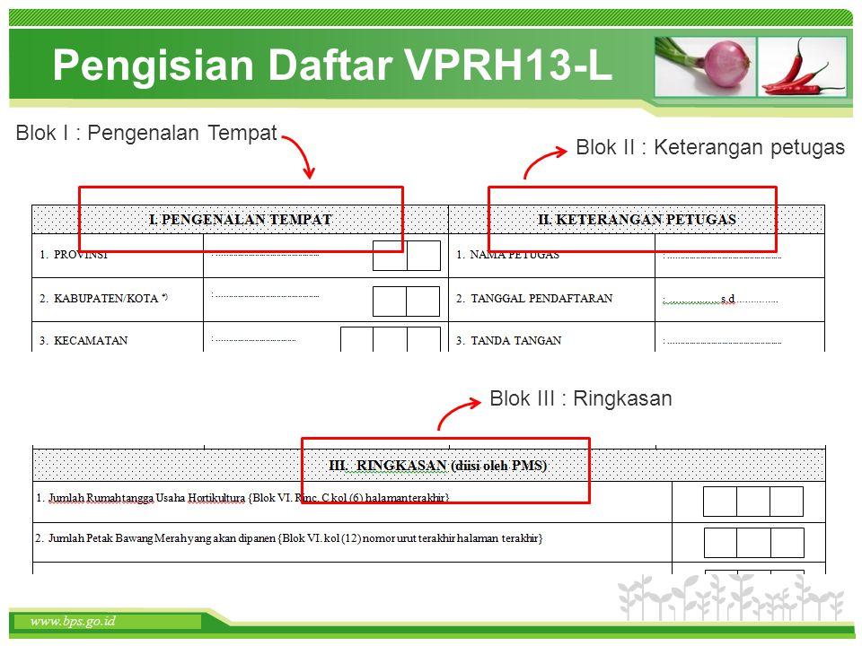 www.themegallery.com www.bps.go.id Pengisian Daftar VPRH13-L www.bps.go.id Blok I : Pengenalan Tempat Blok II : Keterangan petugas Blok III : Ringkasa