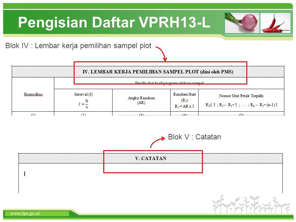 www.themegallery.com www.bps.go.id Pengisian Daftar VPRH13-L www.bps.go.id Blok IV : Lembar kerja pemilihan sampel plot Blok V : Catatan
