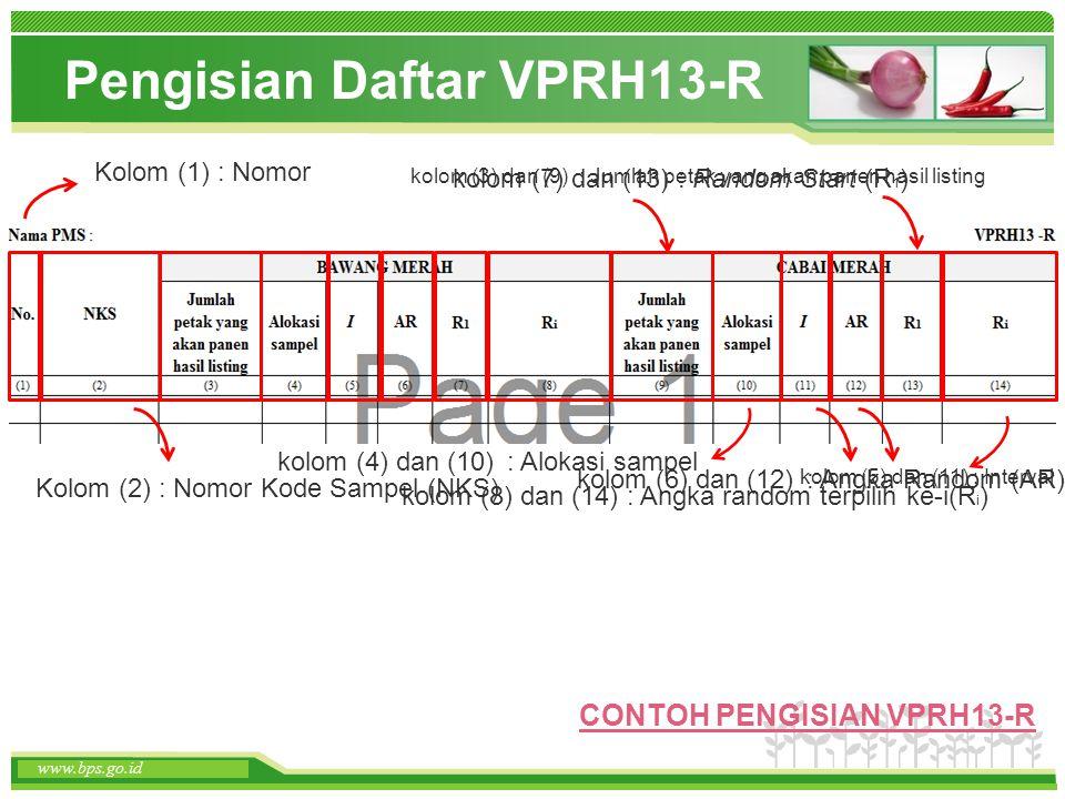 www.themegallery.com www.bps.go.id Pengisian Daftar VPRH13-R www.bps.go.id Kolom (1) : Nomor Kolom (2) : Nomor Kode Sampel (NKS) kolom (3) dan (9) : J