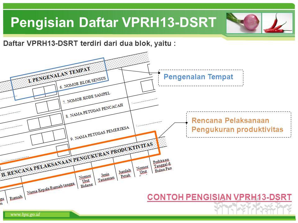 www.themegallery.com www.bps.go.id Pengisian Daftar VPRH13-DSRT Pengenalan Tempat www.bps.go.id Daftar VPRH13-DSRT terdiri dari dua blok, yaitu : Renc