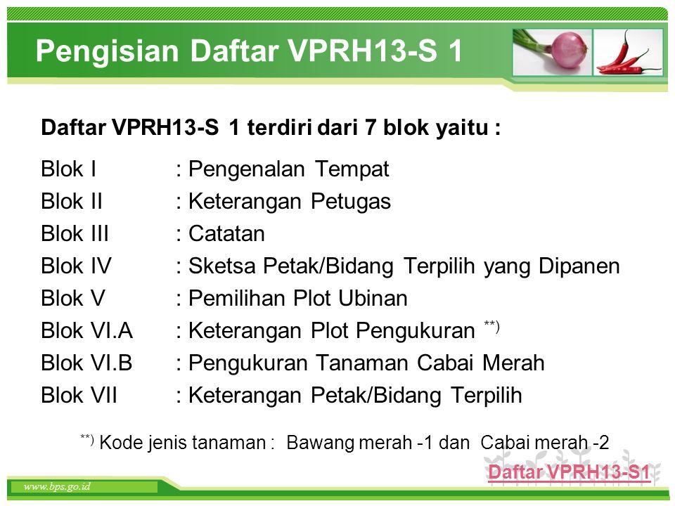 www.themegallery.com www.bps.go.id Pengisian Daftar VPRH13-S 1 Daftar VPRH13-S 1 terdiri dari 7 blok yaitu : Blok I: Pengenalan Tempat Blok II: Ketera
