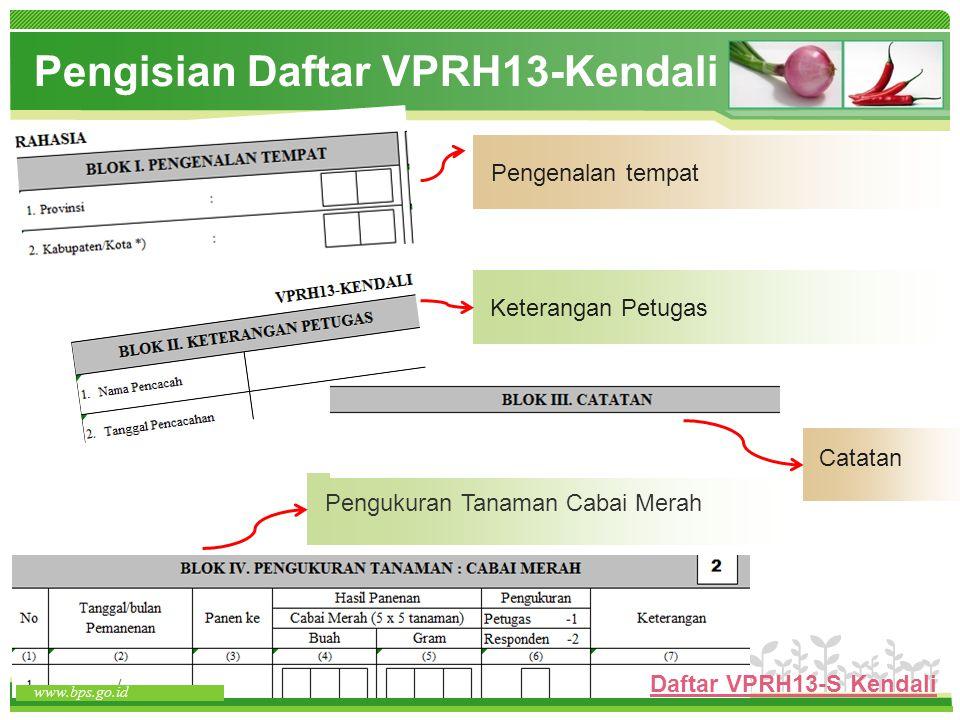 www.themegallery.com www.bps.go.id Pengukuran Tanaman Cabai Merah Catatan Keterangan Petugas Pengenalan tempat Pengisian Daftar VPRH13-Kendali www.bps