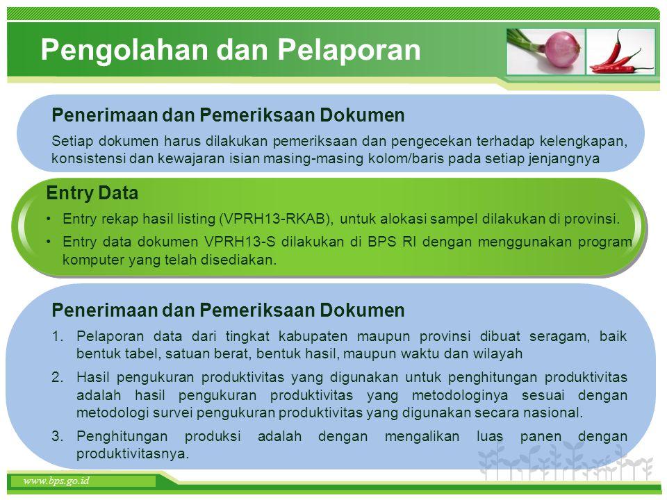 www.themegallery.com www.bps.go.id Pengolahan dan Pelaporan Penerimaan dan Pemeriksaan Dokumen Setiap dokumen harus dilakukan pemeriksaan dan pengecek