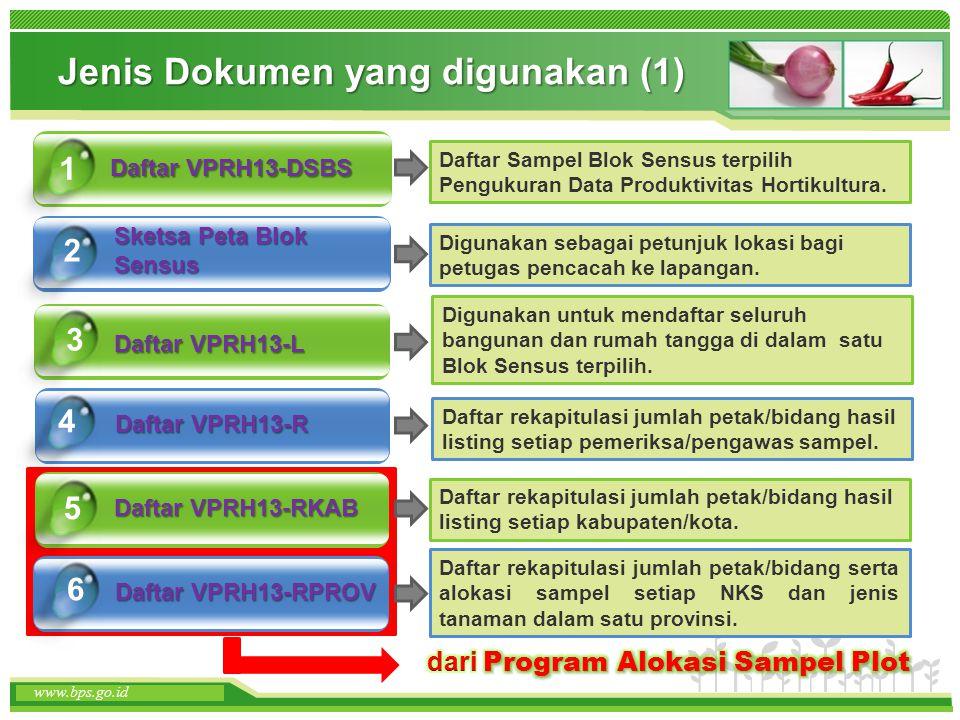 www.themegallery.com www.bps.go.id Jenis Dokumen yang digunakan (1) Daftar VPRH13-DSBS Sketsa Peta Blok Sensus 1 2 Daftar VPRH13-RKAB 5 www.bps.go.id
