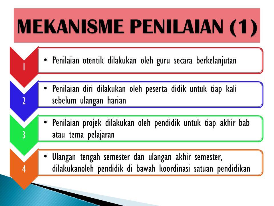 1 Penilaian otentik dilakukan oleh guru secara berkelanjutan 2 Penilaian diri dilakukan oleh peserta didik untuk tiap kali sebelum ulangan harian 3 Pe