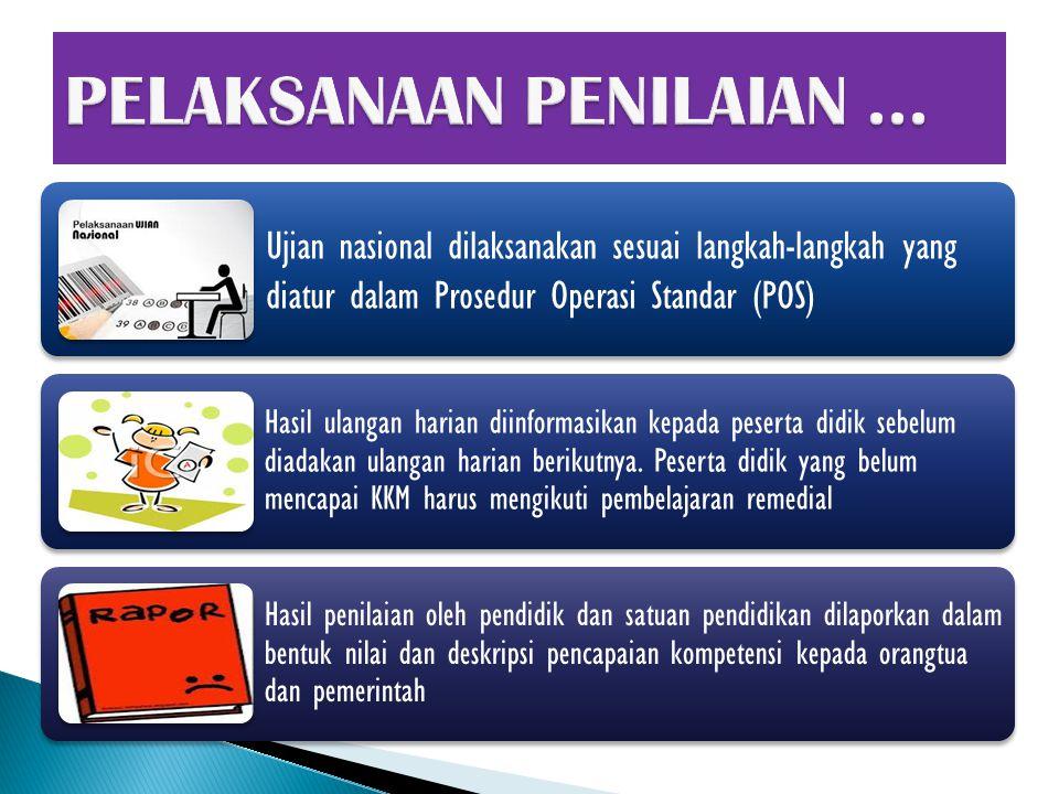 Ujian nasional dilaksanakan sesuai langkah-langkah yang diatur dalam Prosedur Operasi Standar (POS) Hasil ulangan harian diinformasikan kepada peserta