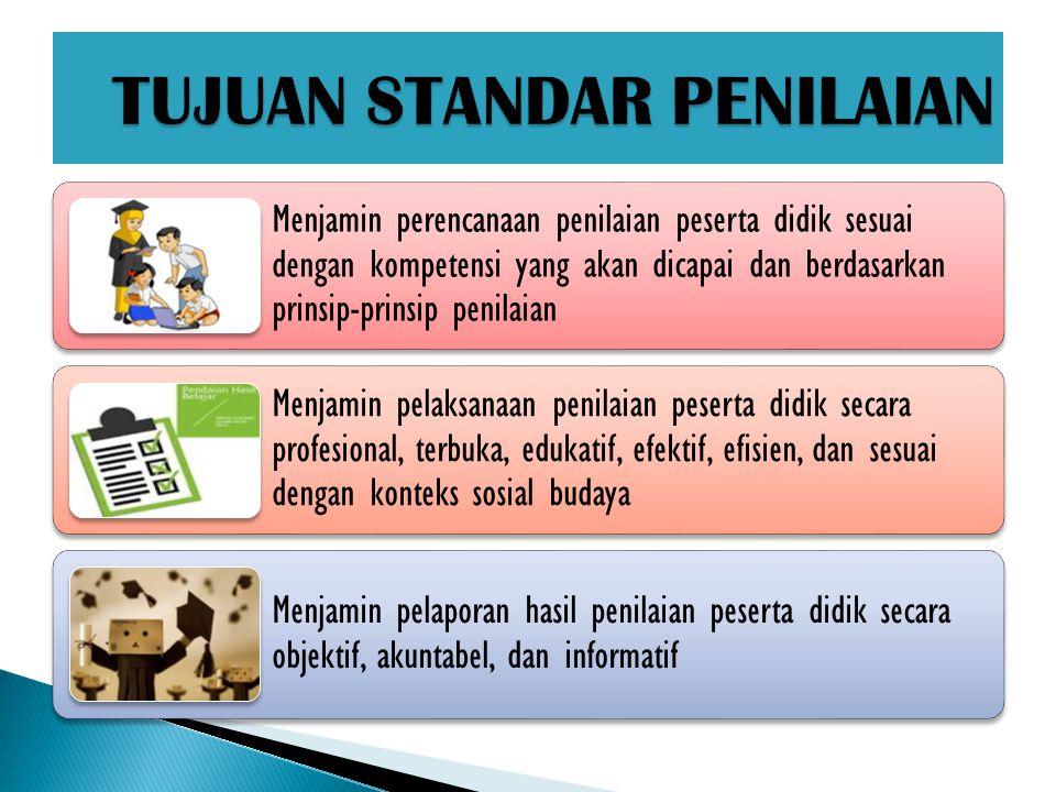 Menjamin perencanaan penilaian peserta didik sesuai dengan kompetensi yang akan dicapai dan berdasarkan prinsip-prinsip penilaian Menjamin pelaksanaan