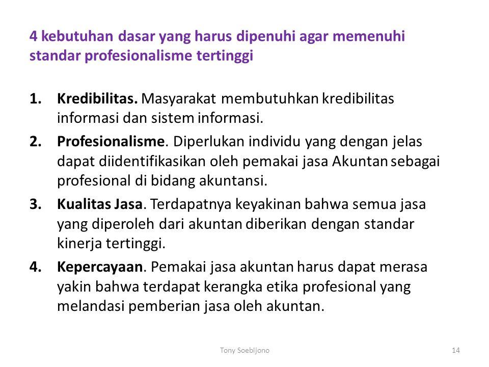 4 kebutuhan dasar yang harus dipenuhi agar memenuhi standar profesionalisme tertinggi 1.Kredibilitas. Masyarakat membutuhkan kredibilitas informasi da