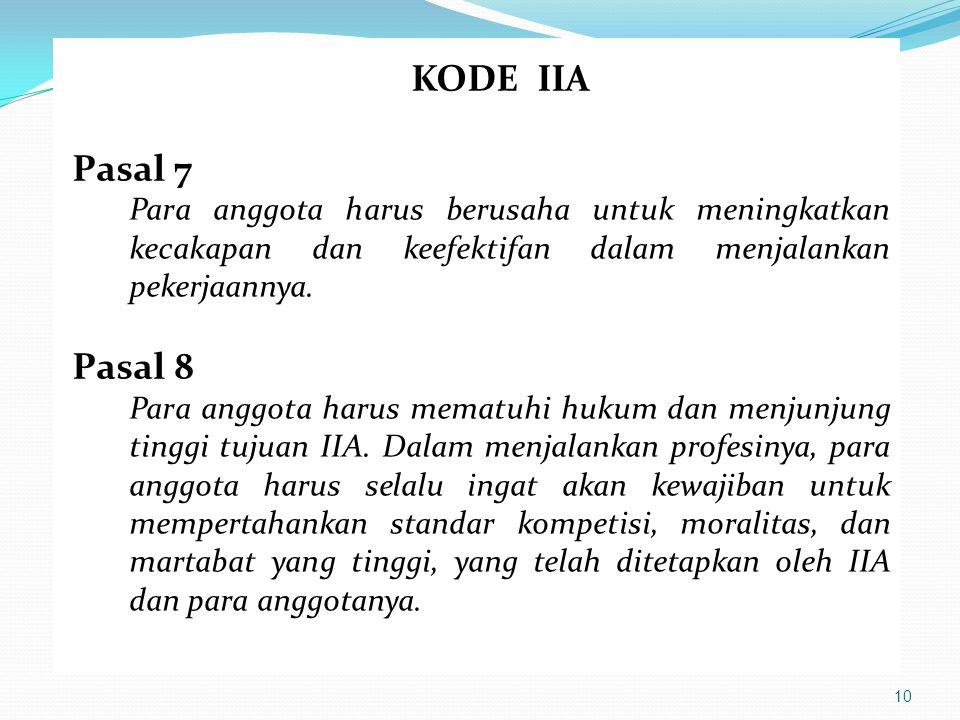 10 KODE IIA Pasal 7 Para anggota harus berusaha untuk meningkatkan kecakapan dan keefektifan dalam menjalankan pekerjaannya. Pasal 8 Para anggota haru