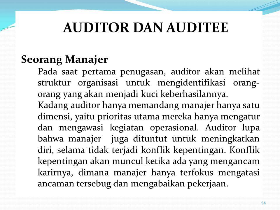 14 AUDITOR DAN AUDITEE Seorang Manajer Pada saat pertama penugasan, auditor akan melihat struktur organisasi untuk mengidentifikasi orang- orang yang