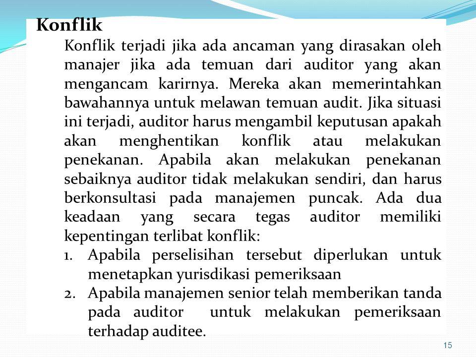 15 Konflik Konflik terjadi jika ada ancaman yang dirasakan oleh manajer jika ada temuan dari auditor yang akan mengancam karirnya. Mereka akan memerin